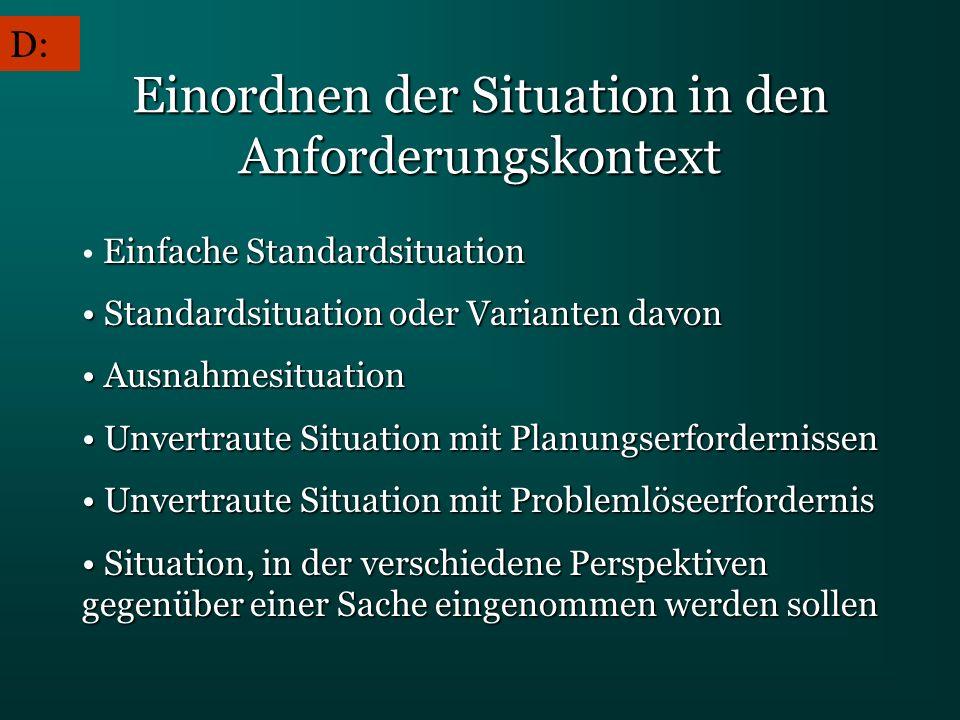 Einordnen der Situation in den Anforderungskontext Einfache Standardsituation Standardsituation oder Varianten davon Standardsituation oder Varianten