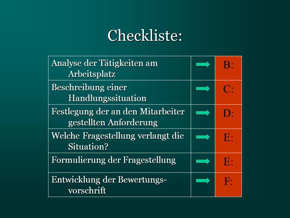 Checkliste: Analyse der Tätigkeiten am Arbeitsplatz B: Beschreibung einer Handlungssituation C: Festlegung der an den Mitarbeiter gestellten Anforderu