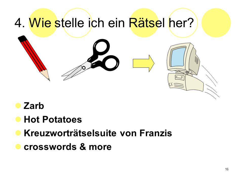 16 4. Wie stelle ich ein Rätsel her? Zarb Hot Potatoes Kreuzworträtselsuite von Franzis crosswords & more