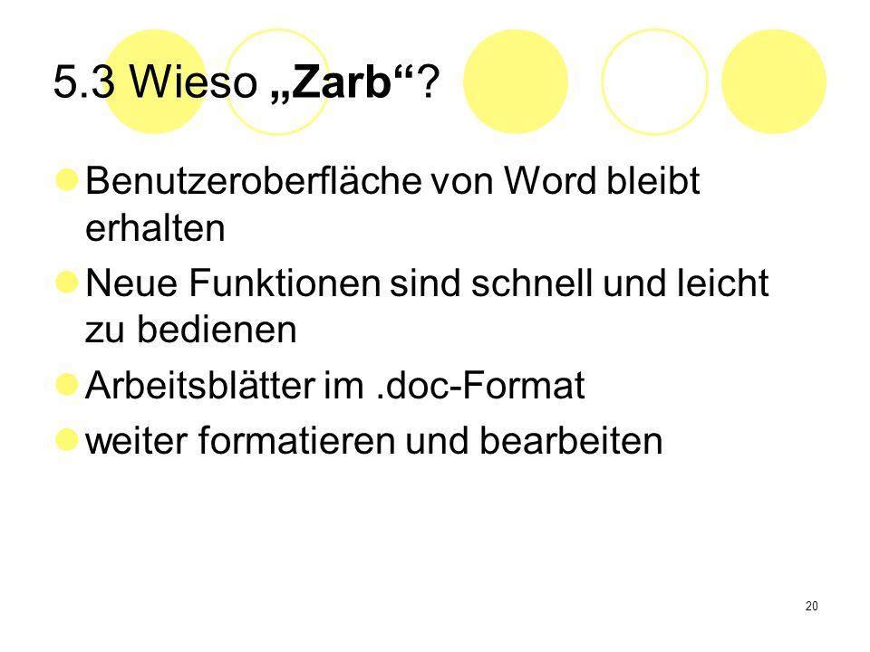 20 5.3 Wieso Zarb? Benutzeroberfläche von Word bleibt erhalten Neue Funktionen sind schnell und leicht zu bedienen Arbeitsblätter im.doc-Format weiter