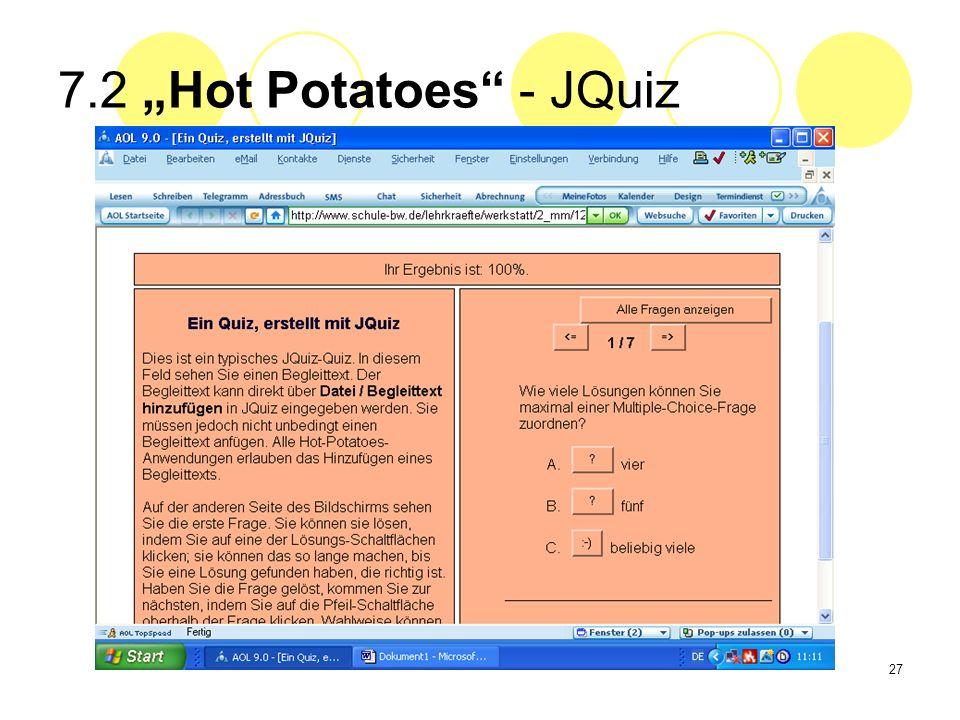 27 7.2 Hot Potatoes - JQuiz