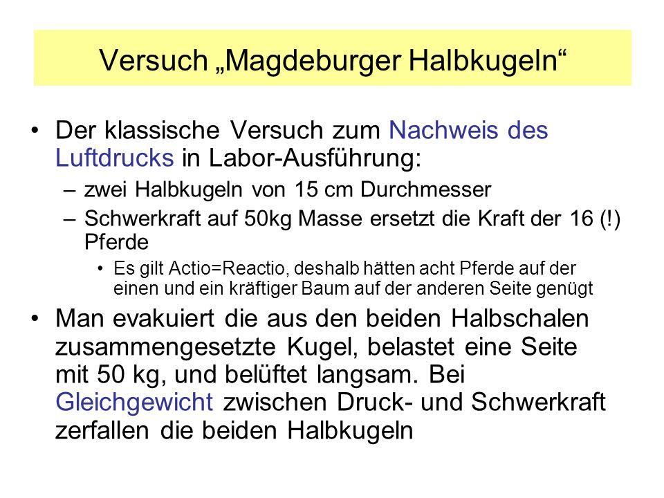 Versuch mit Magdeburger Halbkugeln im Hörsaal Die beiden Halbkugeln werden geschlossen und abgepumpt Es wird langsam belüftet Bei etwa 660 mbar fällt das Gewicht 50 kg 1 0,5 0 Druck [bar]