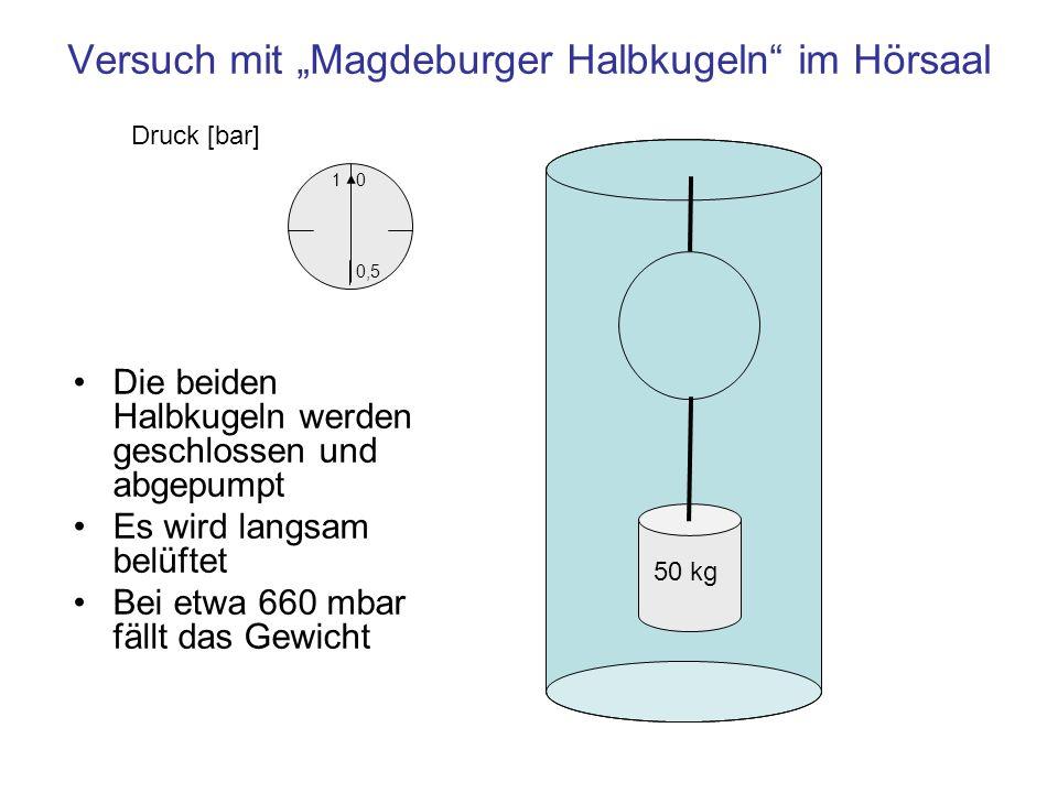 Einheit r1 mRadius der Halbkugeln m1 kgMasse an der unteren Kugel 1 N Gewichtskraft, zieht die untere Halbkugel nach unten 1 N Druckkraft auf die Halbkugeln, erzeugt durch die Druckdifferenz zwischen Außen- und Innendruck Kräfte beim Versuch Magdeburger Halbkugeln Die Kugel bleibt geschlossen, solange die Druckkraft größer ist als die Gewichtskraft