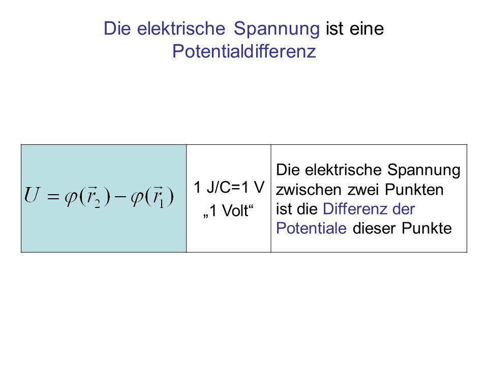 1 J/C=1 V 1 Volt Die elektrische Spannung zwischen zwei Punkten ist die Differenz der Potentiale dieser Punkte Die elektrische Spannung ist eine Poten