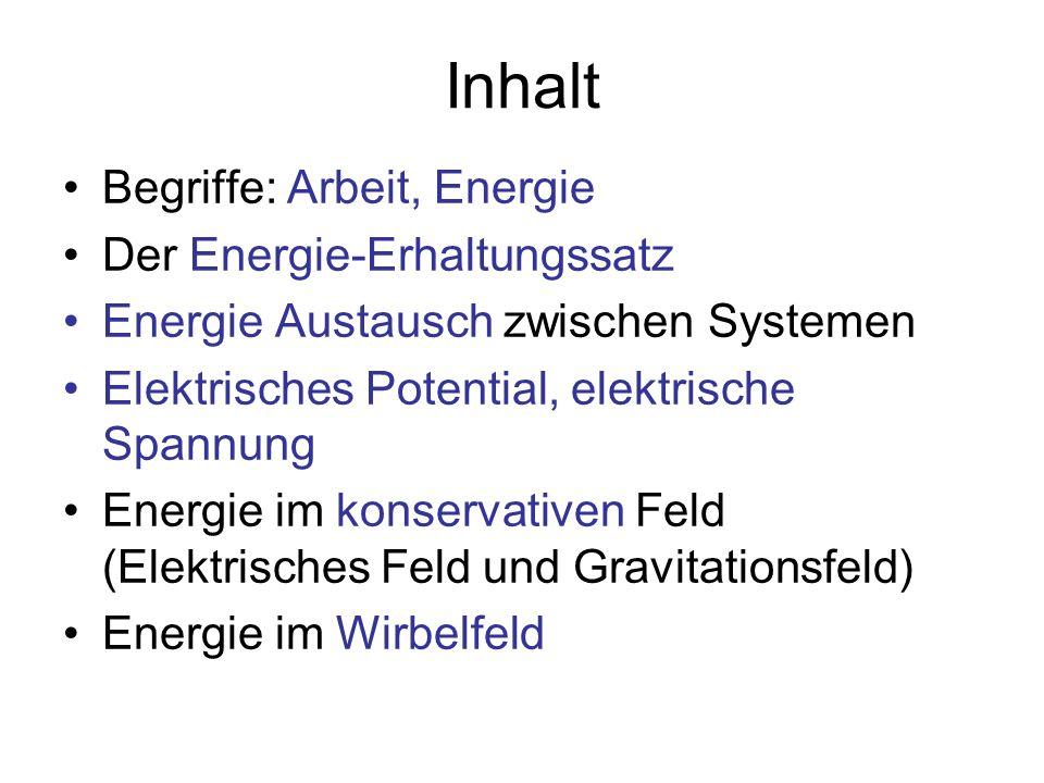 Inhalt Begriffe: Arbeit, Energie Der Energie-Erhaltungssatz Energie Austausch zwischen Systemen Elektrisches Potential, elektrische Spannung Energie i