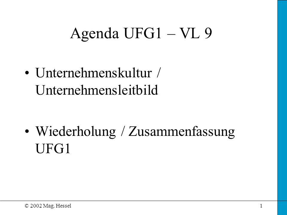 © 2002 Mag. Hessel1 Agenda UFG1 – VL 9 Unternehmenskultur / Unternehmensleitbild Wiederholung / Zusammenfassung UFG1