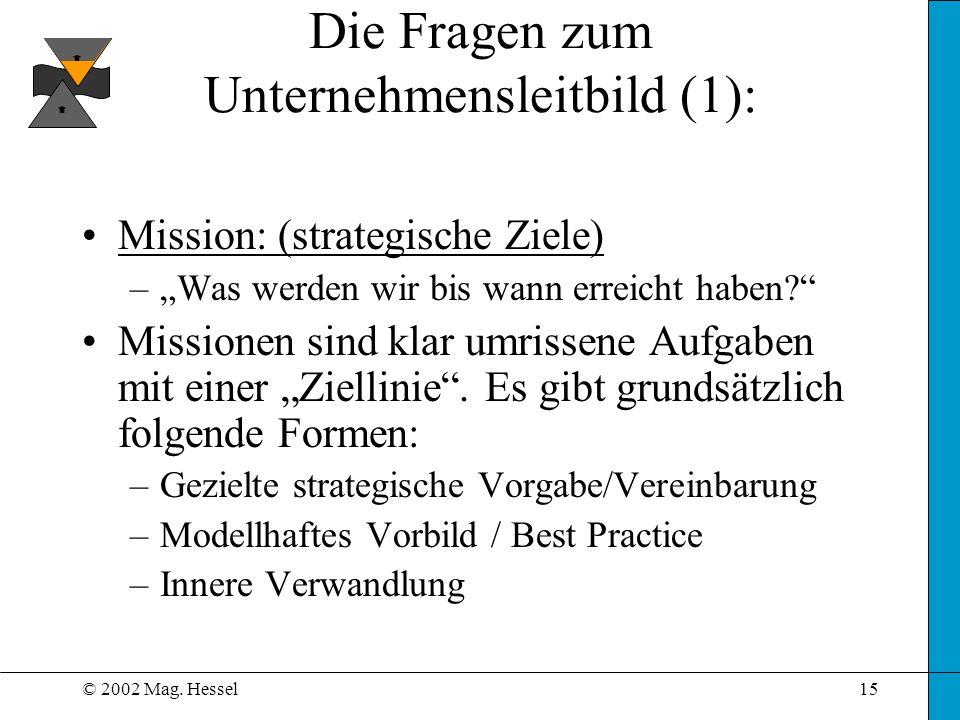 © 2002 Mag. Hessel15 Die Fragen zum Unternehmensleitbild (1): Mission: (strategische Ziele) –Was werden wir bis wann erreicht haben? Missionen sind kl