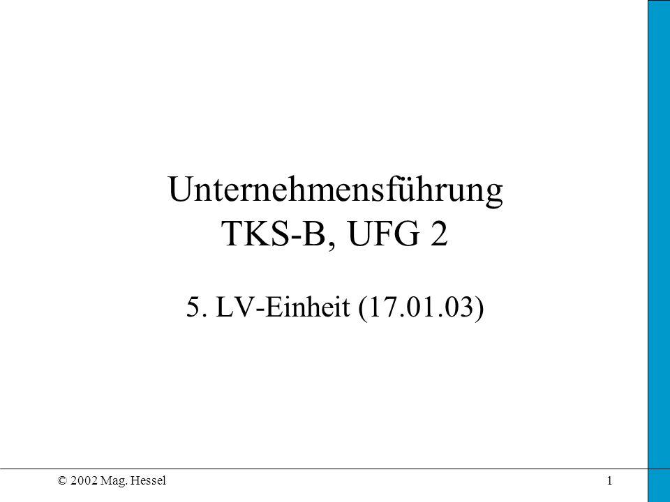 © 2002 Mag. Hessel1 Unternehmensführung TKS-B, UFG 2 5. LV-Einheit (17.01.03)