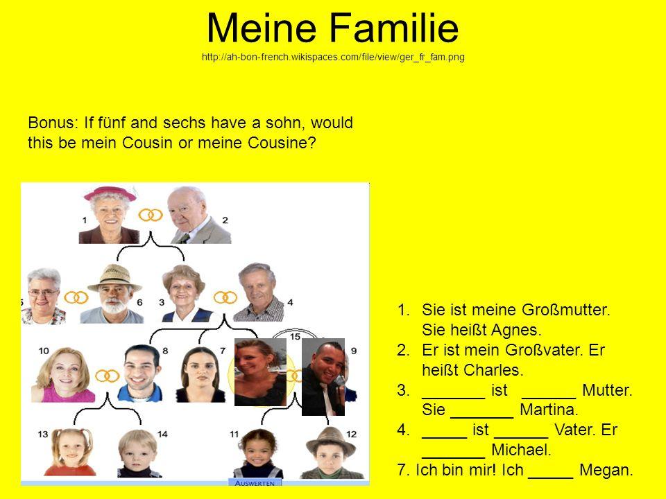 Meine Familie http://ah-bon-french.wikispaces.com/file/view/ger_fr_fam.png 1.Sie ist meine Großmutter. Sie heißt Agnes. 2.Er ist mein Großvater. Er he