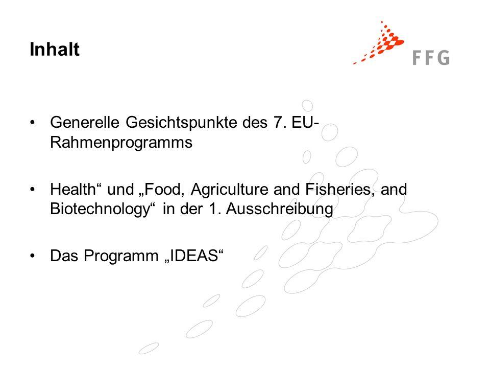 Thema 2 - Lebensmittel, Landwirtschaft, Fischerei und Biotechnologie ( 1.935 Mio Euro ) Ziel: Aufbau einer wissensgestützten Bio-Wirtschaft Schwerpunkte: Sicherere, gesündere und hochwertigere Lebensmittel Tierschutz Nachhaltige Produktion und Verwendung nachwachsender Bio- Rohstoffe Epizoonosen und Zoonosen Lebensmittelbedingte Dysfunktionen Nachhaltigkeit und Sicherheit der landwirtschaftlichen Erzeugung und der Fischerei