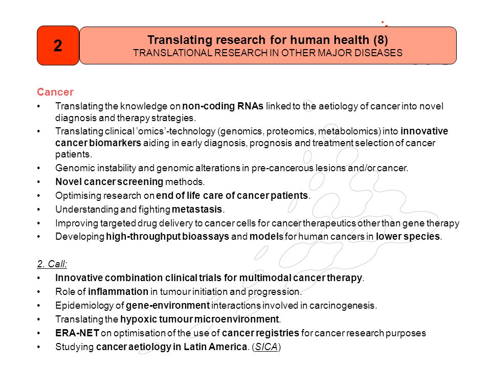 Cancer Translating the knowledge on non-coding RNAs linked to the aetiology of cancer into novel diagnosis and therapy strategies.