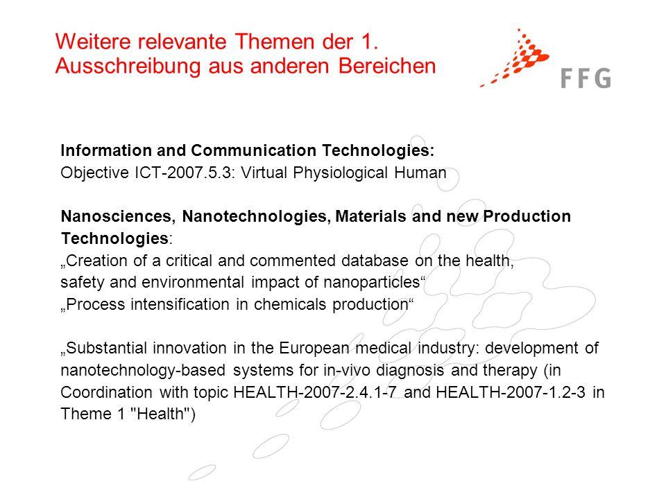 Weitere relevante Themen der 1. Ausschreibung aus anderen Bereichen Information and Communication Technologies: Objective ICT-2007.5.3: Virtual Physio