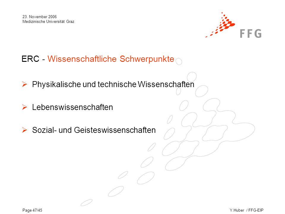 Y.Huber / FFG-EIP 23. November 2006 Medizinische Universität Graz Page 47/45 ERC - Wissenschaftliche Schwerpunkte Physikalische und technische Wissens
