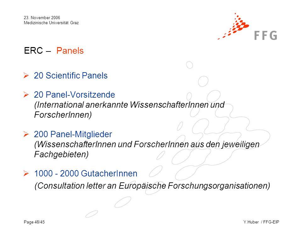 Y.Huber / FFG-EIP 23. November 2006 Medizinische Universität Graz Page 48/45 ERC – Panels 20 Scientific Panels 20 Panel-Vorsitzende (International ane
