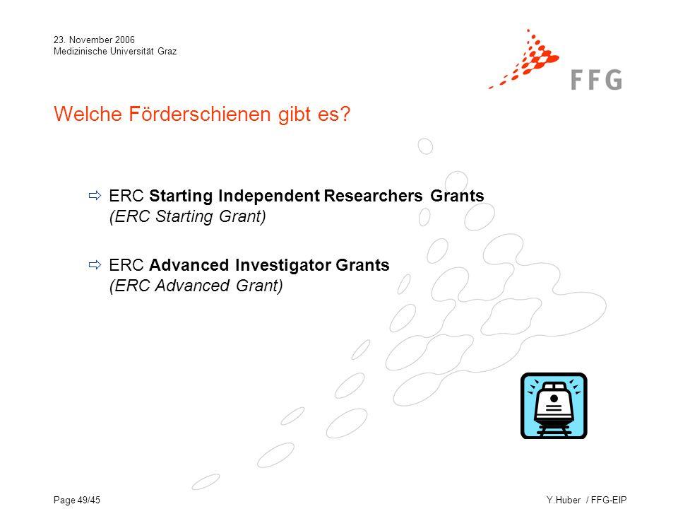 Y.Huber / FFG-EIP 23. November 2006 Medizinische Universität Graz Page 49/45 Welche Förderschienen gibt es? ERC Starting Independent Researchers Grant