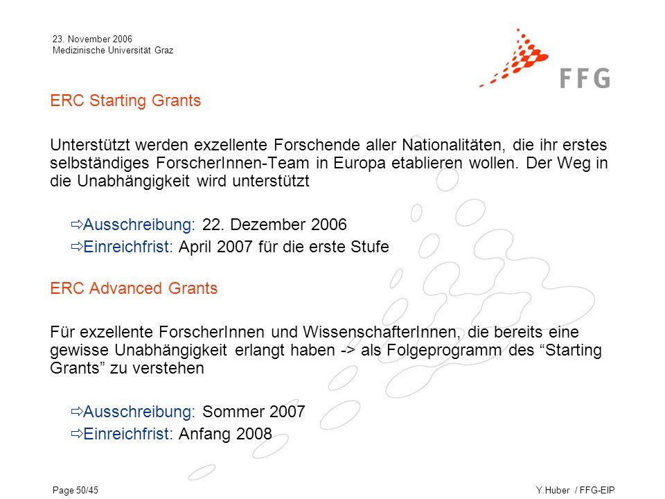 Y.Huber / FFG-EIP 23. November 2006 Medizinische Universität Graz Page 50/45 ERC Starting Grants Unterstützt werden exzellente Forschende aller Nation