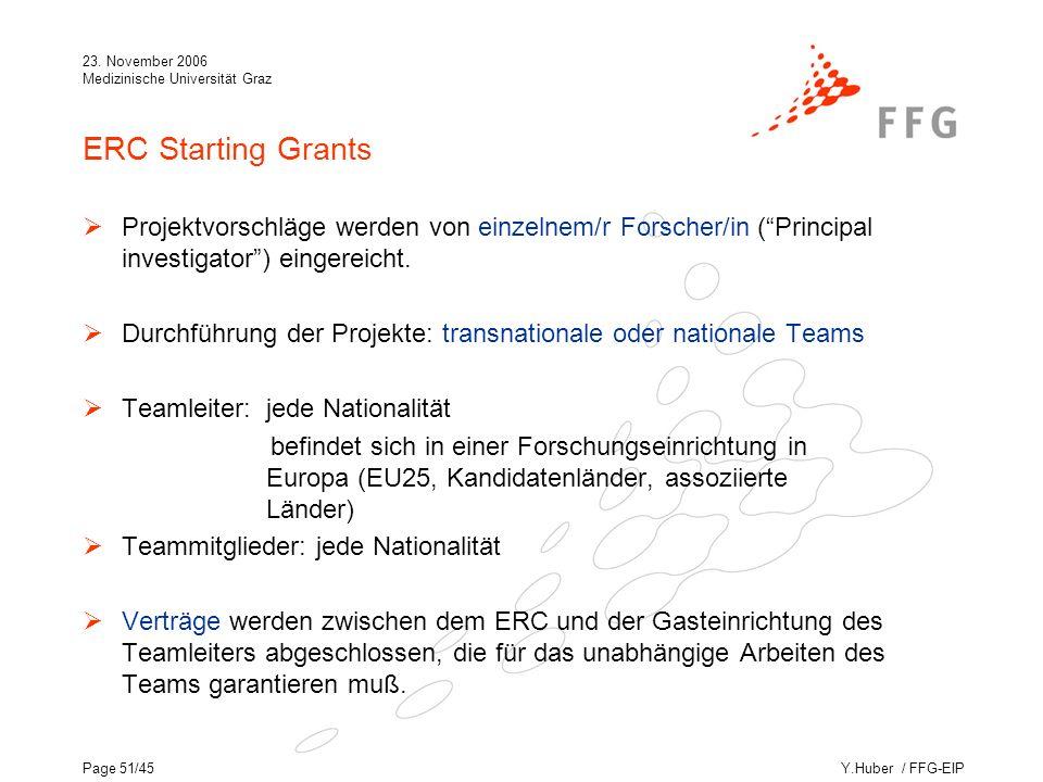 Y.Huber / FFG-EIP 23. November 2006 Medizinische Universität Graz Page 51/45 ERC Starting Grants Projektvorschläge werden von einzelnem/r Forscher/in