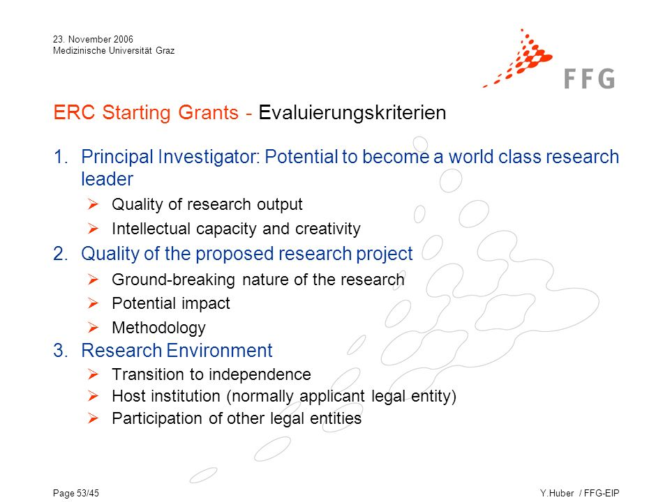 Y.Huber / FFG-EIP 23. November 2006 Medizinische Universität Graz Page 53/45 ERC Starting Grants - Evaluierungskriterien 1.Principal Investigator: Pot