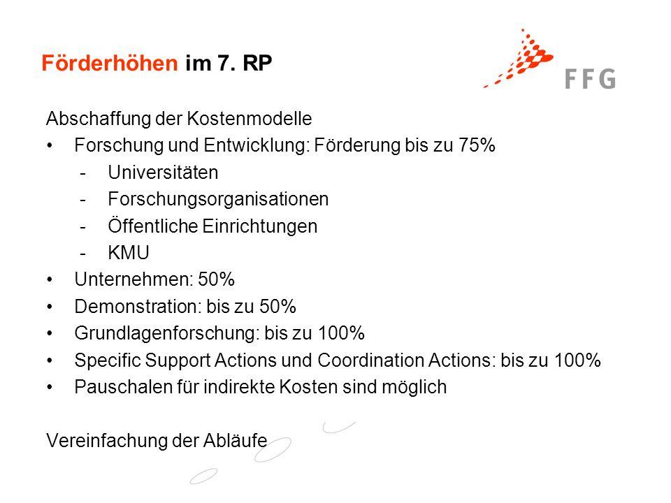 Förderhöhen im 7. RP Abschaffung der Kostenmodelle Forschung und Entwicklung: Förderung bis zu 75% -Universitäten -Forschungsorganisationen -Öffentlic