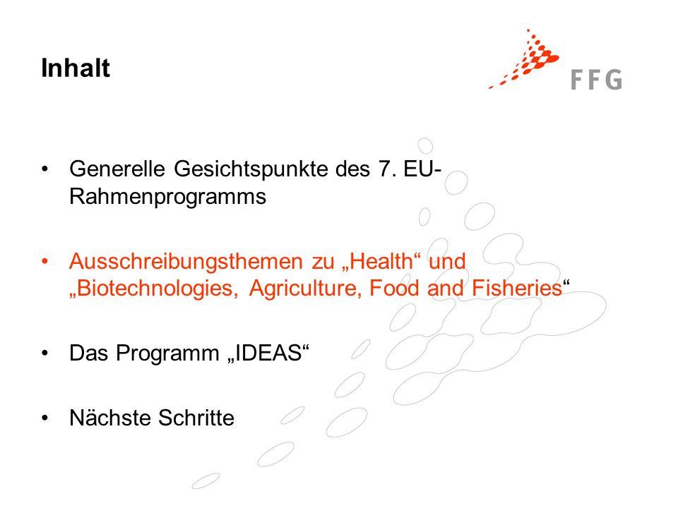 Inhalt Generelle Gesichtspunkte des 7. EU- Rahmenprogramms Ausschreibungsthemen zu Health und Biotechnologies, Agriculture, Food and Fisheries Das Pro