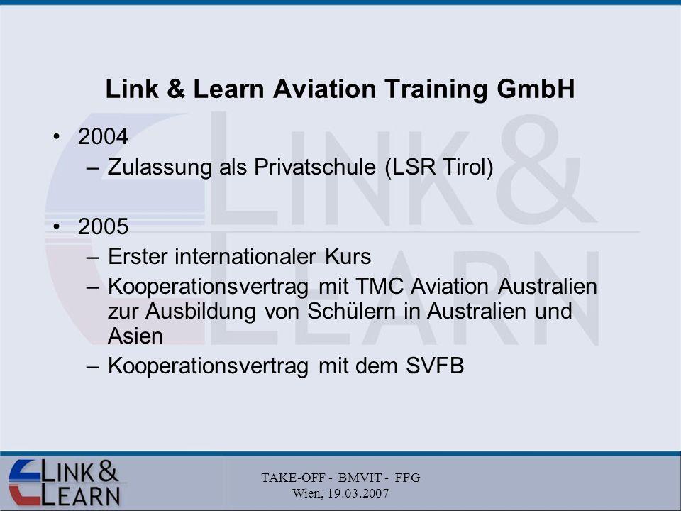 TAKE-OFF - BMVIT - FFG Wien, 19.03.2007 Umsetzung des Link & Learn Konzepts durch den Schweizer Verband Flugtechnischer Betriebe für die gesamte Schweiz