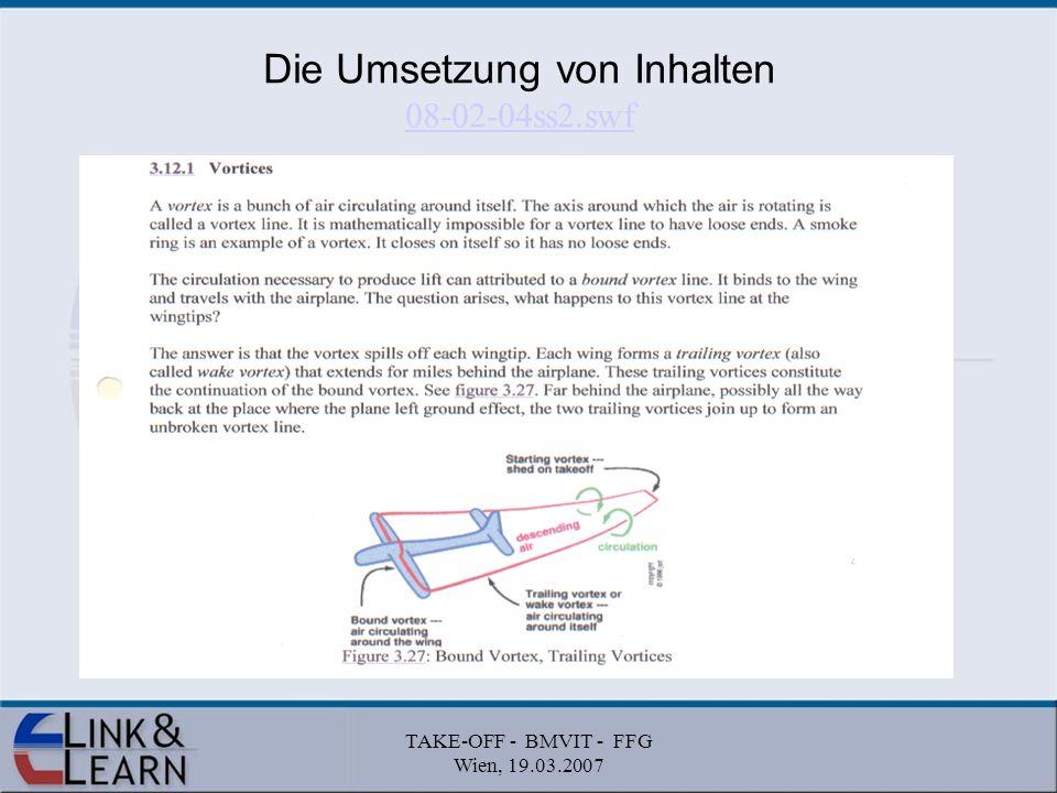 TAKE-OFF - BMVIT - FFG Wien, 19.03.2007 Die Umsetzung von Inhalten 08-02-04ss2.swf 08-02-04ss2.swf