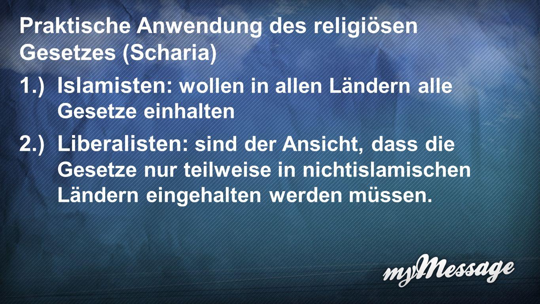 Scharia 5 Praktische Anwendung des religiösen Gesetzes (Scharia) 1.)Islamisten: wollen in allen Ländern alle Gesetze einhalten 2.)Liberalisten: sind der Ansicht, dass die Gesetze nur teilweise in nichtislamischen Ländern eingehalten werden müssen.
