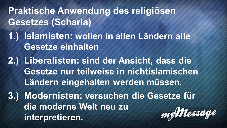 Scharia 7 Praktische Anwendung des religiösen Gesetzes (Scharia) 1.)Islamisten: wollen in allen Ländern alle Gesetze einhalten 2.)Liberalisten: sind der Ansicht, dass die Gesetze nur teilweise in nichtislamischen Ländern eingehalten werden müssen.