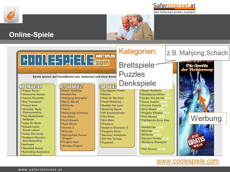 www.coolespiele.com Kategorien: Brettspiele Puzzles Denkspiele z.B.