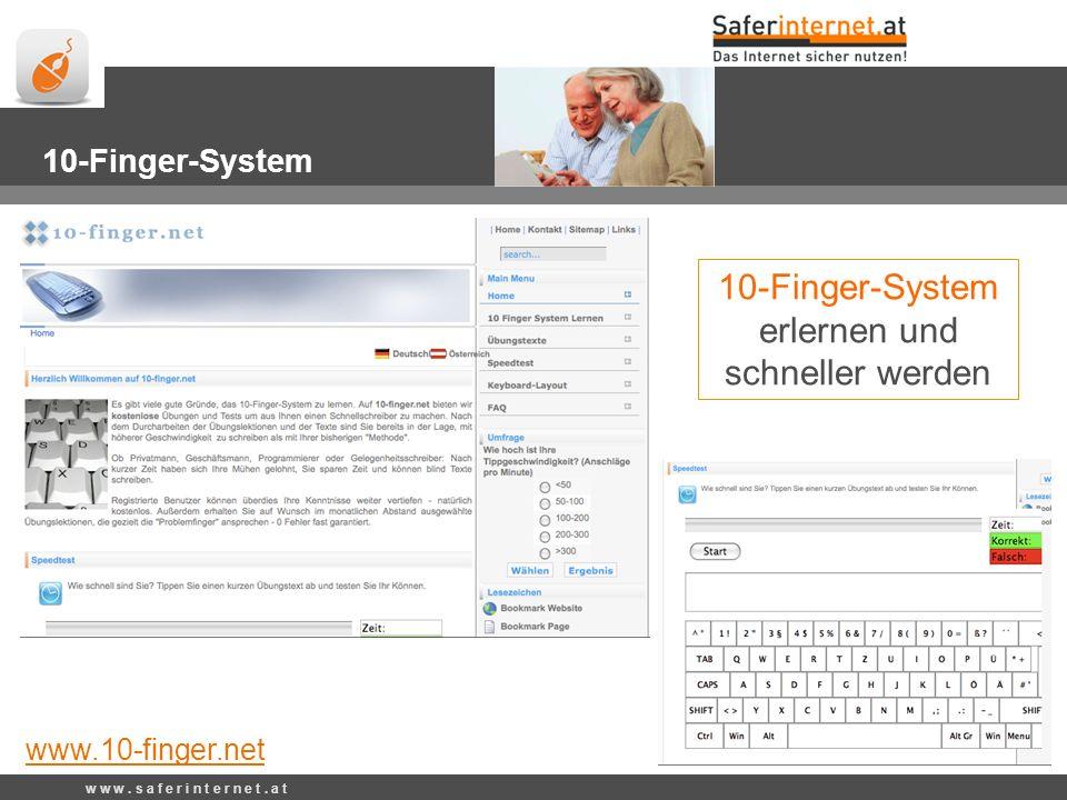www.10-finger.net 10-Finger-System erlernen und schneller werden 10-Finger-System www.10-finger.net w w w.