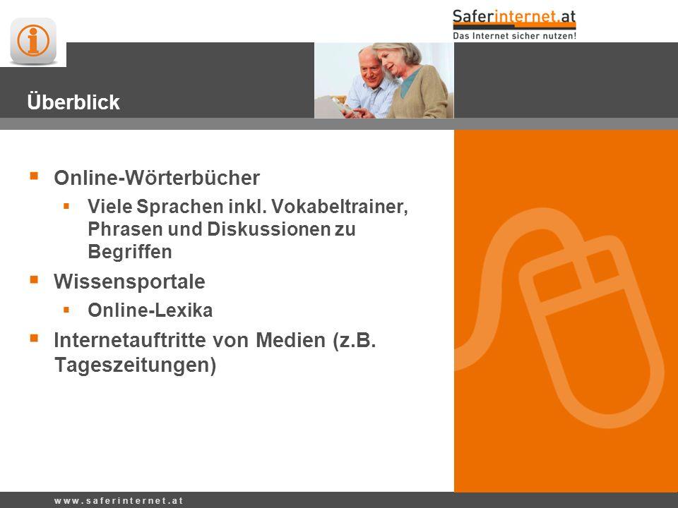 Überblick Online-Wörterbücher Viele Sprachen inkl.