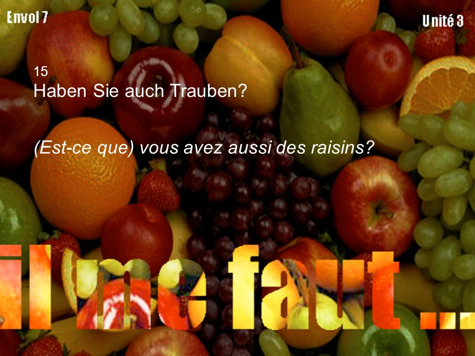 15 Haben Sie auch Trauben? (Est-ce que) vous avez aussi des raisins?