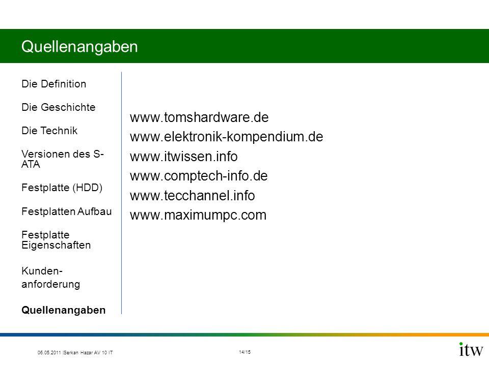 Quellenangaben Die Definition Die Geschichte Die Technik Versionen des S- ATA Festplatte (HDD) Festplatten Aufbau Festplatte Eigenschaften Kunden- anf