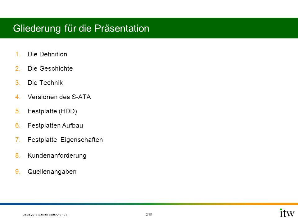 Gliederung für die Präsentation 1.Die Definition 2.Die Geschichte 3.Die Technik 4.Versionen des S-ATA 5.Festplatte (HDD) 6.Festplatten Aufbau 7.Festpl