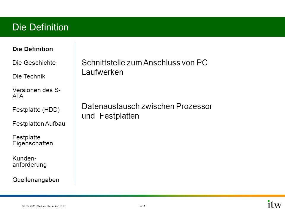 Die Definition Die Geschichte Die Technik Versionen des S- ATA Festplatte (HDD) Festplatten Aufbau Festplatte Eigenschaften Kunden- anforderung Quelle