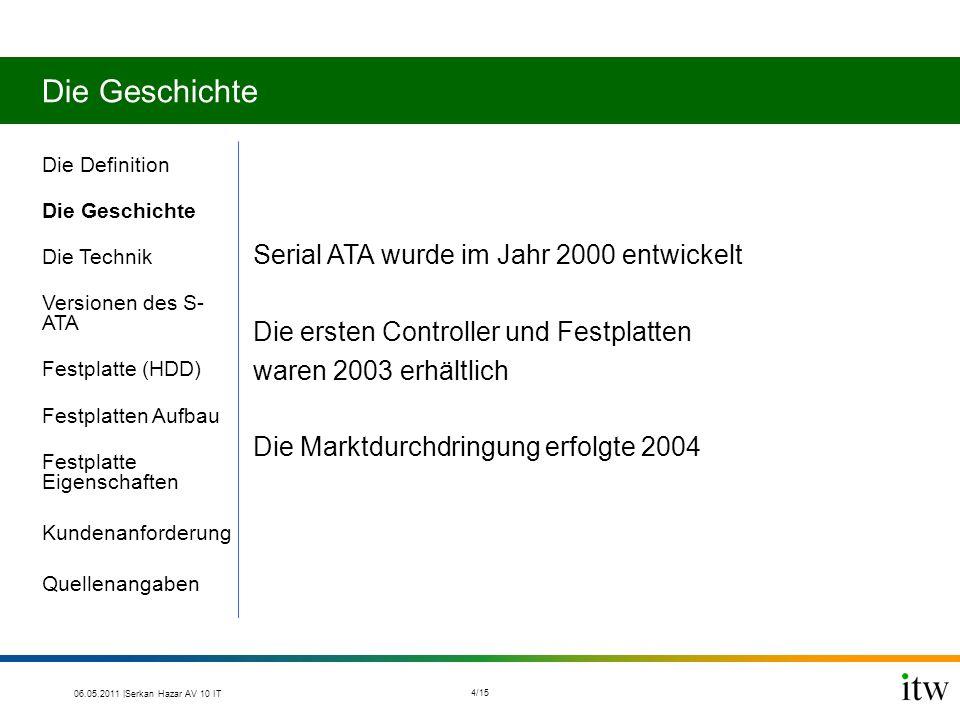 Die Geschichte Serial ATA wurde im Jahr 2000 entwickelt Die ersten Controller und Festplatten waren 2003 erhältlich Die Marktdurchdringung erfolgte 2004 Die Definition Die Geschichte Die Technik Versionen des S- ATA Festplatte (HDD) Festplatten Aufbau Festplatte Eigenschaften Kundenanforderung Quellenangaben 06.05.2011 |Serkan Hazar AV 10 IT 4/15