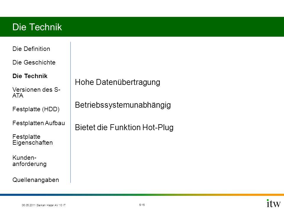 Die Technik Die Definition Die Geschichte Die Technik Versionen des S- ATA Festplatte (HDD) Festplatten Aufbau Festplatte Eigenschaften Kunden- anford
