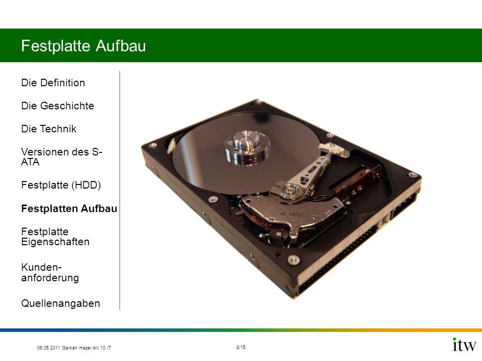 Festplatte Aufbau Die Definition Die Geschichte Die Technik Versionen des S- ATA Festplatte (HDD) Festplatten Aufbau Festplatte Eigenschaften Kunden- anforderung Quellenangaben 06.05.2011 |Serkan Hazar AV 10 IT 8/15
