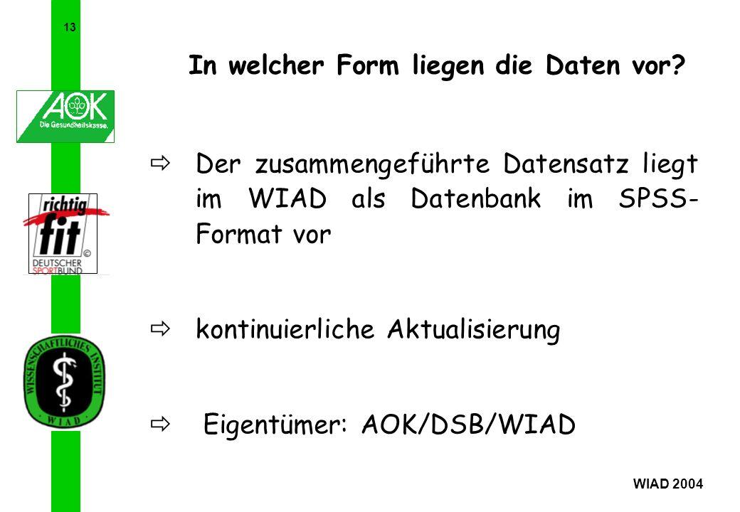 13 WIAD 2004 In welcher Form liegen die Daten vor? Der zusammengeführte Datensatz liegt im WIAD als Datenbank im SPSS- Format vor kontinuierliche Aktu