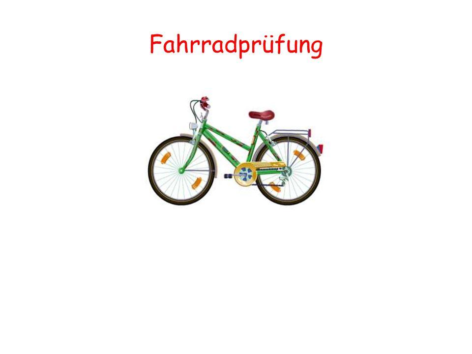 Zwei Bremsen voneinander unabhängig wirkend Klingel hell tönend Vorderlicht weiß oder gelb Rücklicht rot roter Rückstrahler hinten weißer Rückstrahler vorne gelbe Rückstrahler an den Pedalen gelbe Seitenstrahler in den Speichen Die Ausrüstungsteile des Fahrrades