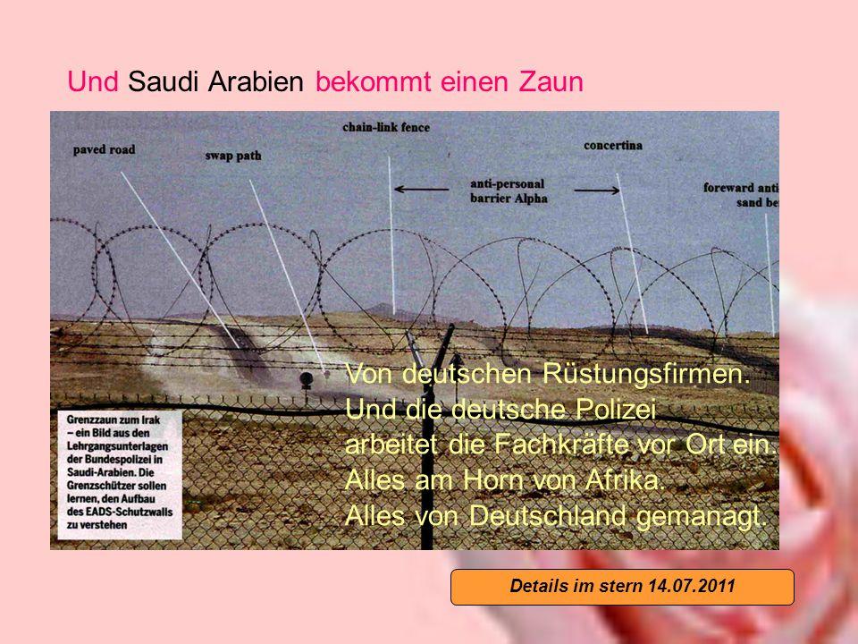 Und Saudi Arabien bekommt einen Zaun Von deutschen Rüstungsfirmen.