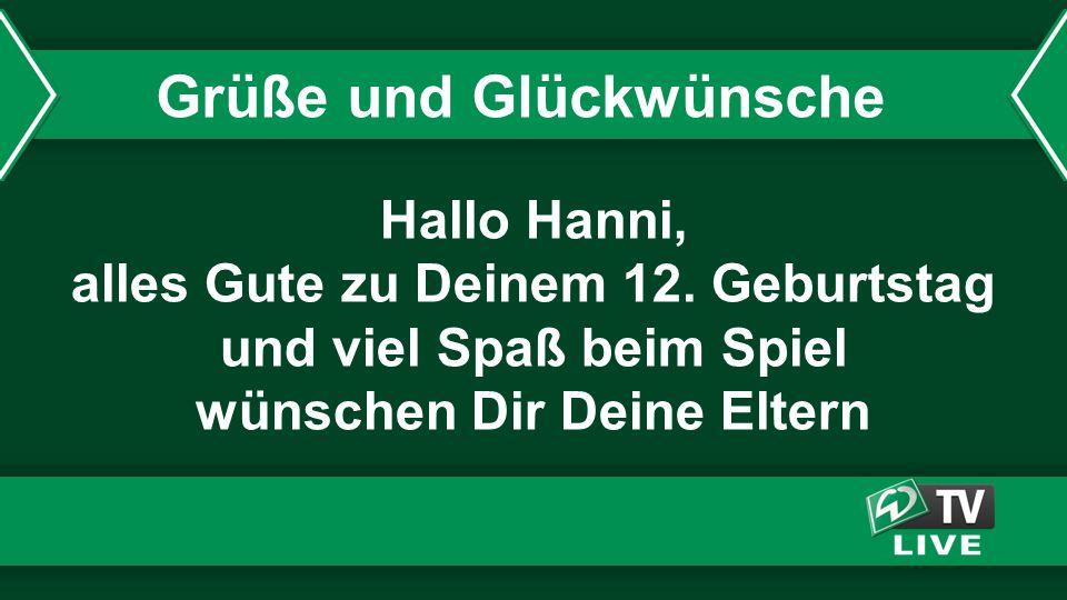 Hallo Hanni, alles Gute zu Deinem 12.
