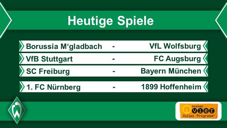 - Heutige Spiele VfB Stuttgart FC Augsburg- Borussia Mgladbach VfL Wolfsburg- SC Freiburg Bayern München- 1. FC Nürnberg 1899 Hoffenheim-