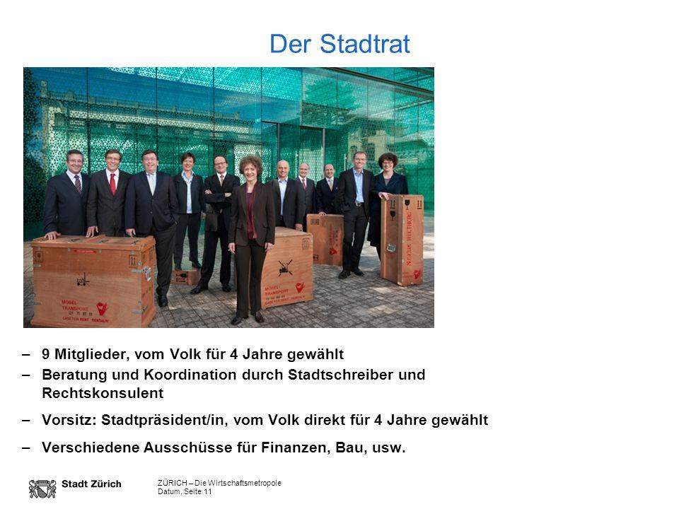 ZÜRICH – Die Wirtschaftsmetropole Datum, Seite 11 Der Stadtrat –9 Mitglieder, vom Volk für 4 Jahre gewählt –Beratung und Koordination durch Stadtschre