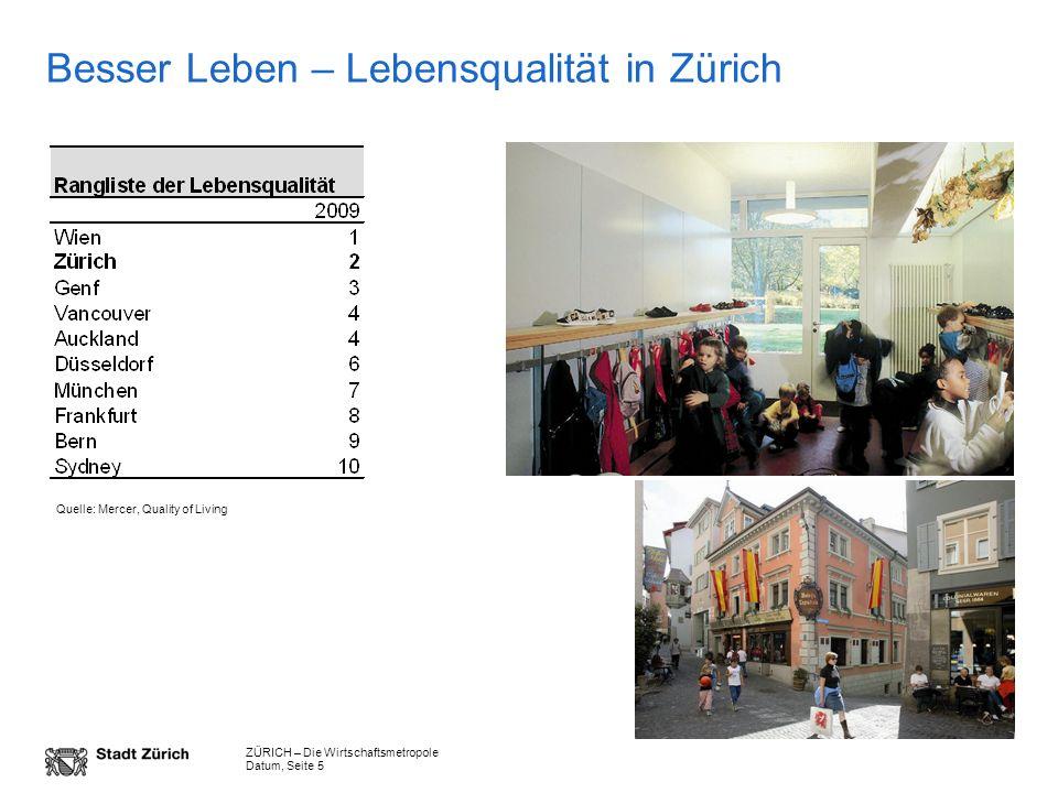 ZÜRICH – Die Wirtschaftsmetropole Datum, Seite 5 Besser Leben – Lebensqualität in Zürich Quelle: Mercer, Quality of Living