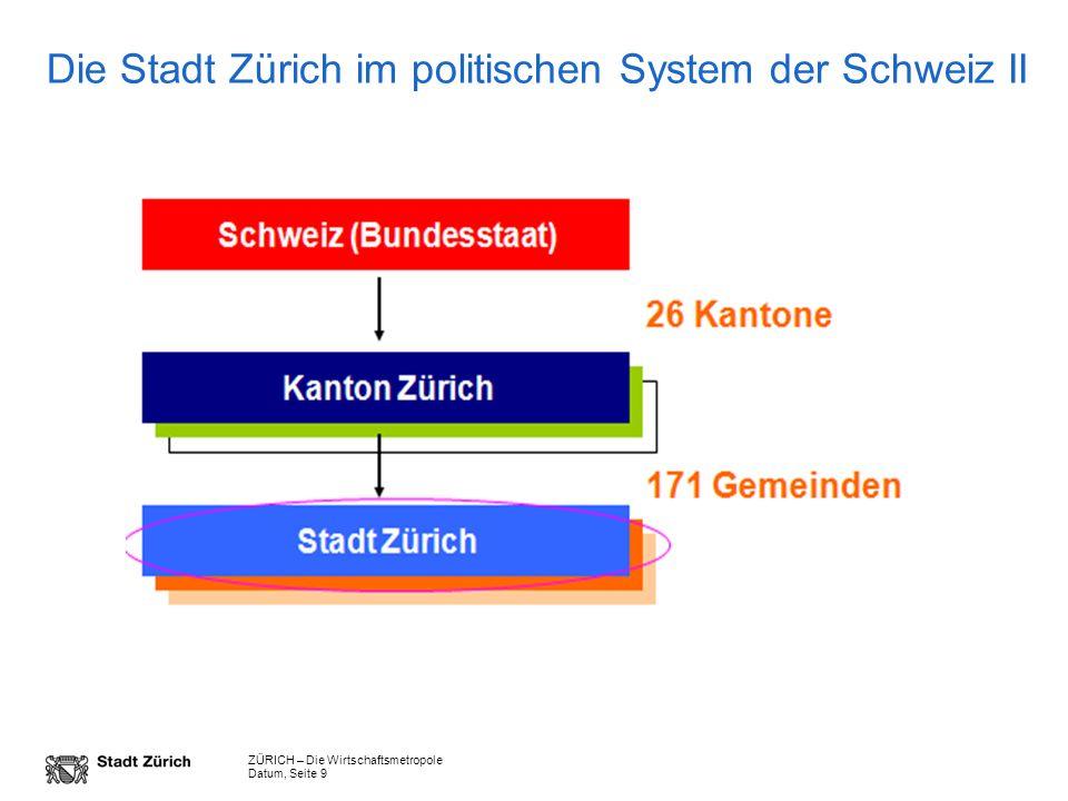 ZÜRICH – Die Wirtschaftsmetropole Datum, Seite 9 Die Stadt Zürich im politischen System der Schweiz II