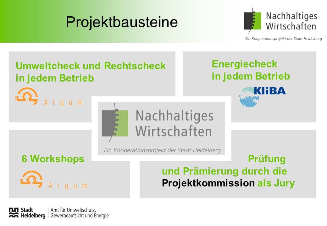 Projektbausteine Umweltcheck und Rechtscheck in jedem Betrieb Energiecheck in jedem Betrieb 6 Workshops Prüfung und Prämierung durch die Projektkommis