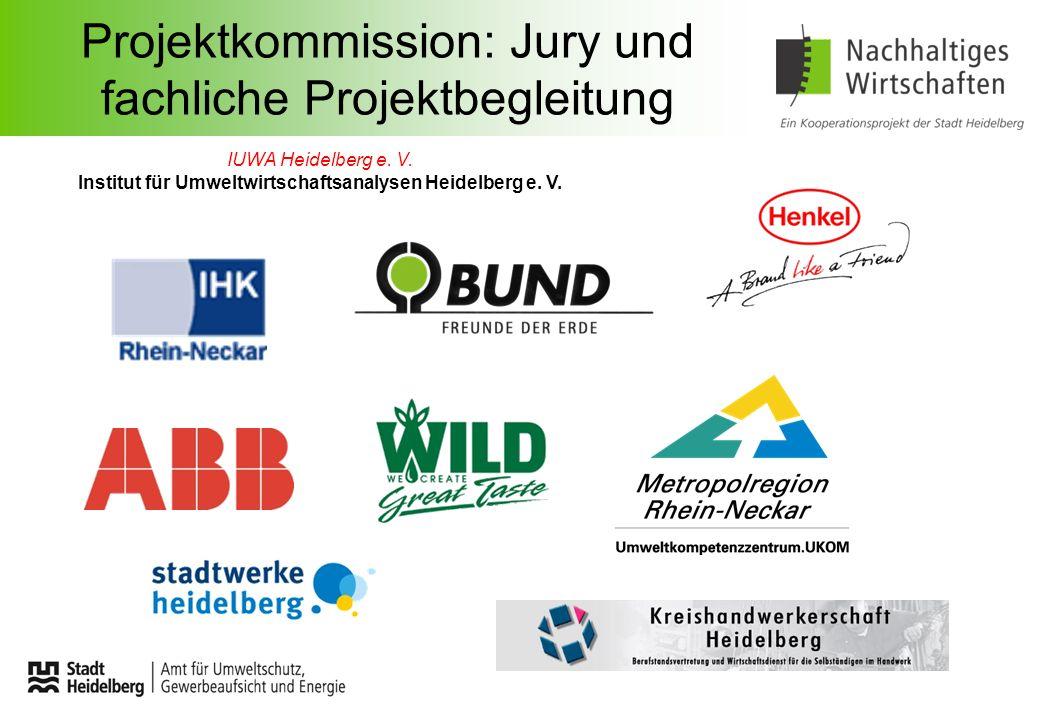 Projektkommission: Jury und fachliche Projektbegleitung IUWA Heidelberg e. V. Institut für Umweltwirtschaftsanalysen Heidelberg e. V.