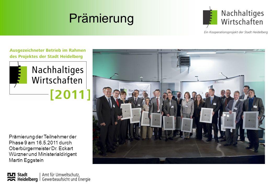 Prämierung Prämierung der Teilnehmer der Phase 9 am 16.5.2011 durch Oberbürgermeister Dr. Eckart Würzner und Ministerialdirigent Martin Eggstein