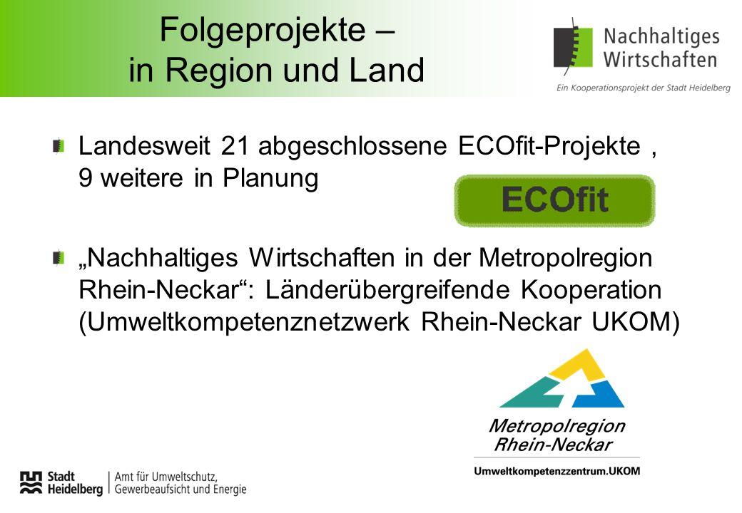 Folgeprojekte – in Region und Land Landesweit 21 abgeschlossene ECOfit-Projekte, 9 weitere in Planung Nachhaltiges Wirtschaften in der Metropolregion